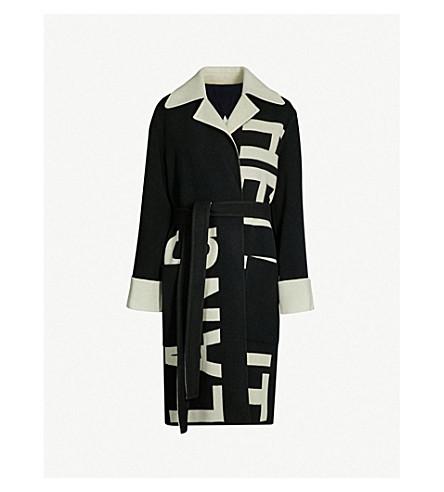 HELMUT LANG Logo-print wool wrap coat (Black/natural white