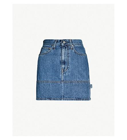 HELMUT LANG High-waist faded denim mini skirt (Denim