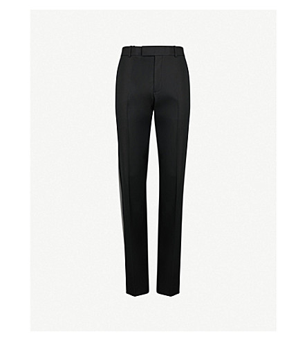 HELMUT LANG Mid-rise straight cotton-blend trousers (Black