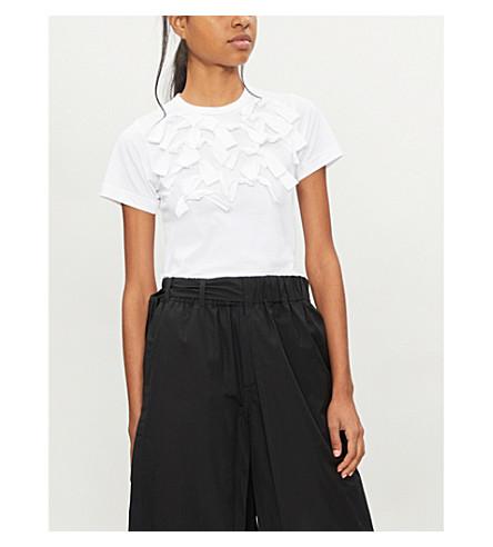 COMME COMME DES GARCONS Bow-detail cotton-jersey T-shirt (White