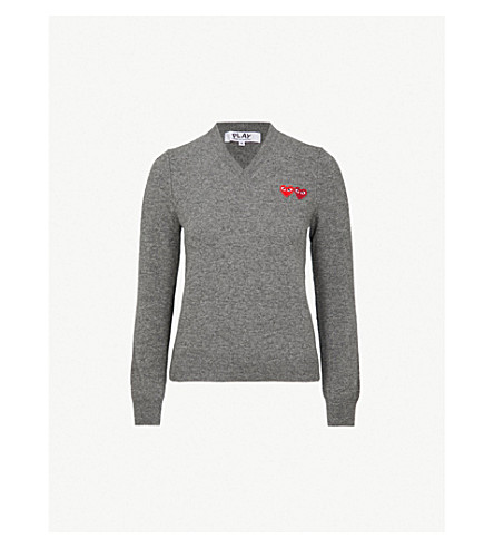 COMME DES GARCONS PLAY 2 Heart-embroidered wool jumper (Grey