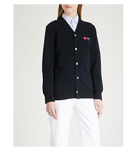 COMME DES GARCONS PLAY 2 Heart-embroidered wool cardigan (Navy