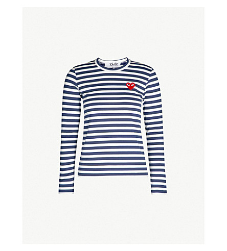 COMME DES GARCONS PLAY Heart-embroidered striped cotton-jersey top (Navy white