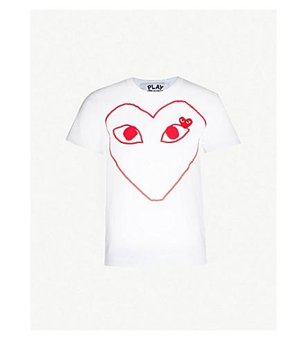 COMME DES GARCONS PLAY 心标志平纹针织棉 T 恤 (白色