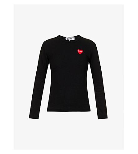 COMME DES GARCONS PLAY Heart-appliquéd cotton-jersey top (Black