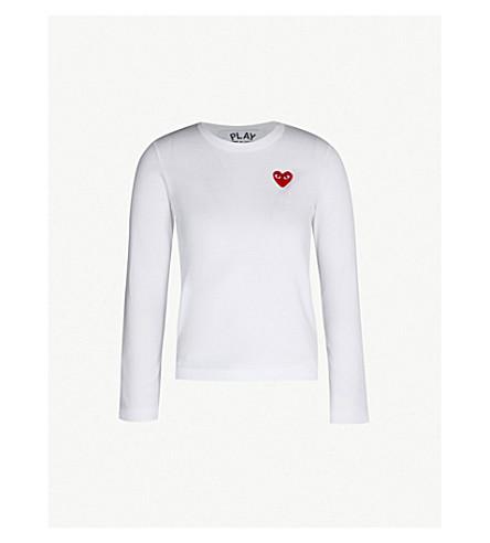 COMME DES GARCONS PLAY Heart-appliquéd cotton-jersey top (White