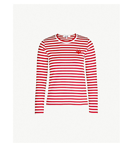 COMME DES GARCONS PLAY Heart patch striped cotton-jersey top (Red white