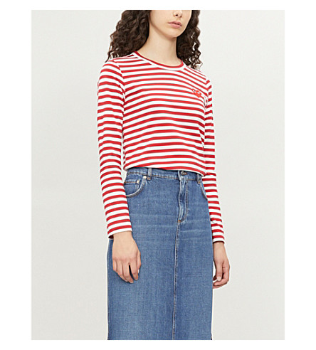 COMME DES GARCONS PLAY Heart patch striped cotton-jersey top (Red/white