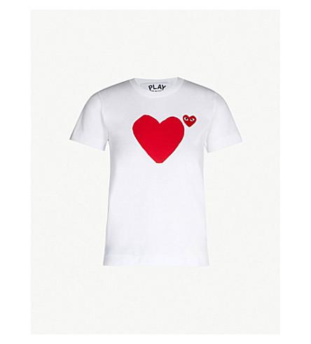 COMME DES GARCONS PLAY Heart-appliquéd cotton-jersey T-shirt (White