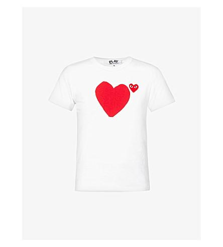 COMME DES GARCONS PLAY Big heart-appliqué cotton-jersey T-shirt (White
