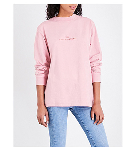 STUSSY Logo-embroidered cotton-hersey top (Pink