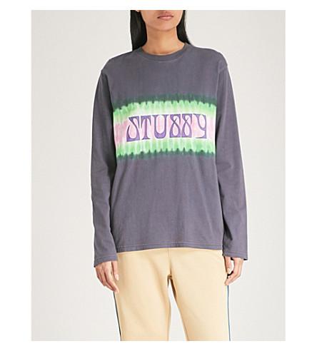 STUSSY Tie-dye logo cotton-jersey top (Black