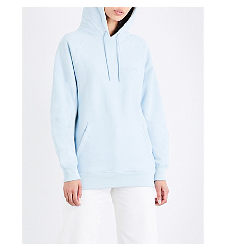 STUSSY Stock cotton-jersey hoody (Sky blue