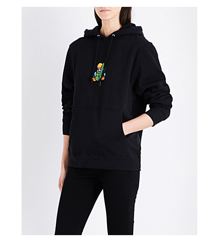 STUSSY Cactus-embroidered cotton-blend hoody (Black