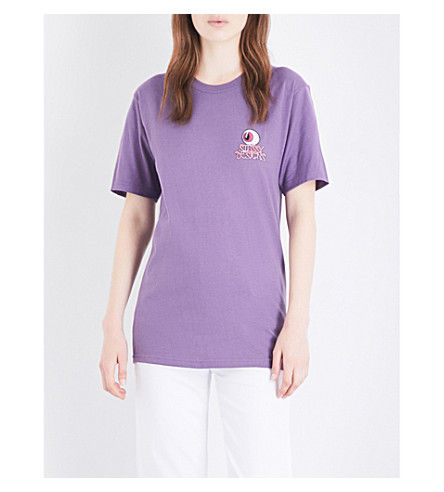 STUSSY Eyeball logo-motif cotton-jersey T-shirt (Purple