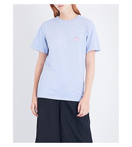 STUSSY Logo-print cotton-jersey T-shirt (Baby+blue