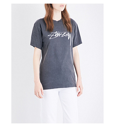 STUSSY Smooth Stock logo-print cotton-jersey T-shirt (Black
