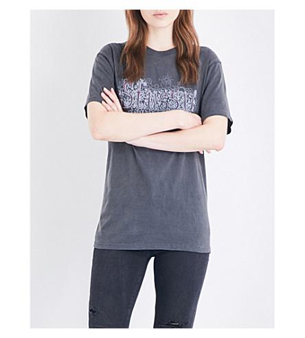 STUSSY Floral logo-print cotton-jersey T-shirt (Black
