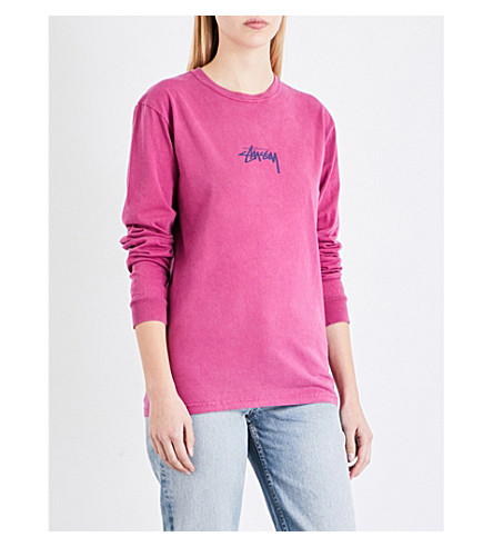 STUSSY Logo-print cotton-jersey top (Berry
