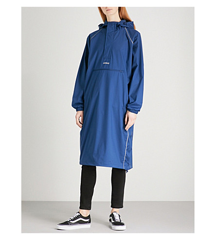 STUSSY Ceremony reflective logo-print shell coat (Blue
