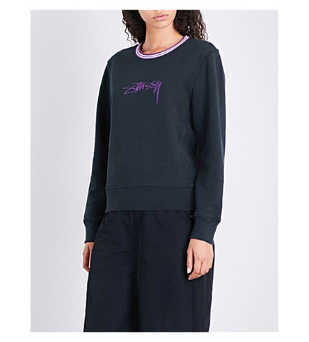 STUSSY Logo-embroidered cotton-jersey top (Black