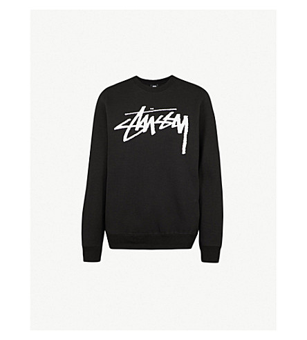 STUSSY Logo-print cotton-fleece sweatshirt (Black
