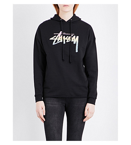 STUSSY Stock Fade stretch-cotton hoody (Black