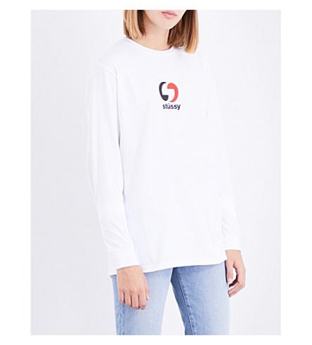 STUSSY Logo-print cotton-jersey top (White