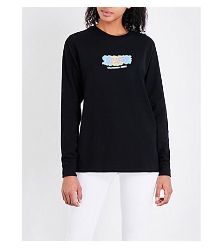 STUSSY Liquid logo-print cotton-jersey top (Black