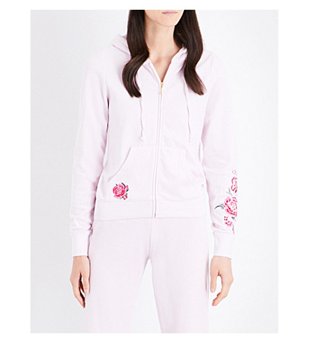 JUICY COUTURE Robertson floral-embroidered velour hoody (Baby+pink