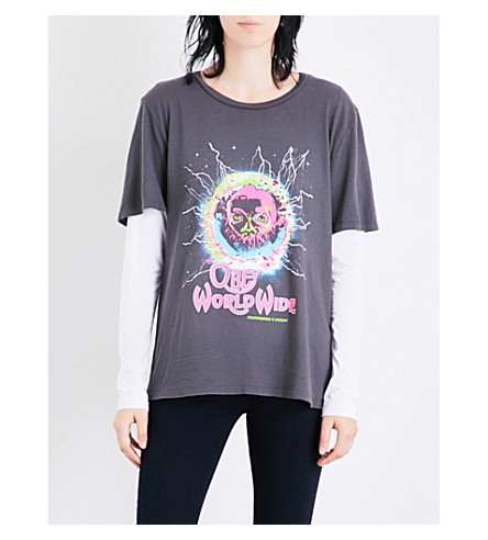 OBEY End of World Tour cotton-jersey T-shirt (Faded+black