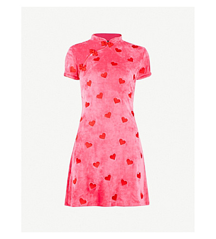 LAZY OAF Asian Persuasion velour dress (Pink