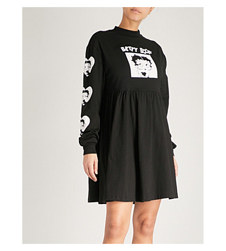 LAZY OAF Lazy Oaf x Betty Boop cotton-jersey dress (Black