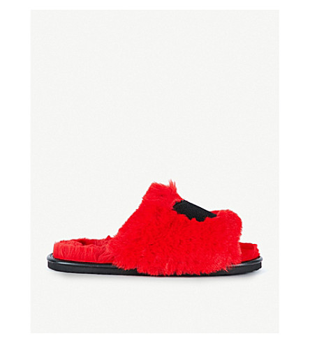 LAZY OAF Embroidered faux-fur sliders (Red