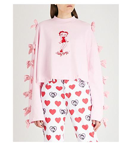 LAZY OAF Lazy Oaf x Betty Boop bow-embellished cotton-jersey sweatshirt (Pink