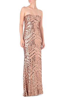 FOREVER UNIQUE Strapless sequinned maxi dress