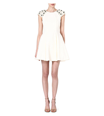 FOREVER UNIQUE Daisy embellished-shoulder dress (Ivory