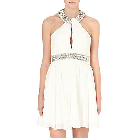 FOREVER UNIQUE Hayley embellished halterneck dress (Ivory