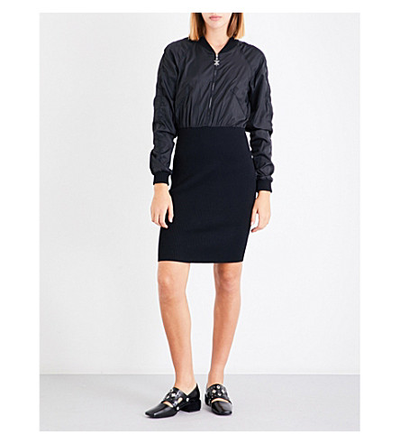 OPENING CEREMONY OC Torch shell and knitted bomber dress (Black