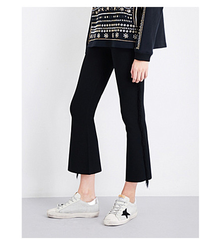 OPENING CEREMONY Split-cuff flared cropped high-rise knitted trousers (Black