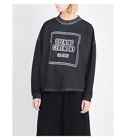 OPENING CEREMONY Faded logo-print cotton sweatshirt (Black