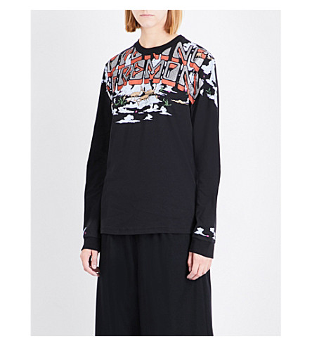 OPENING CEREMONY Scorpion-print cotton-jersey sweatshirt (Black