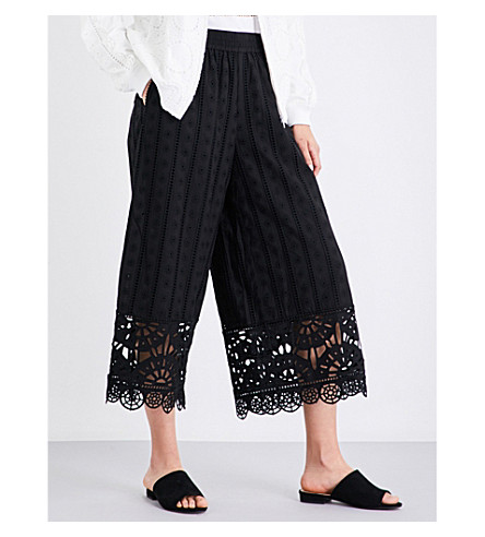 OPENING CEREMONY Wide mid-rise cotton-broderie anglaise trousers (Black