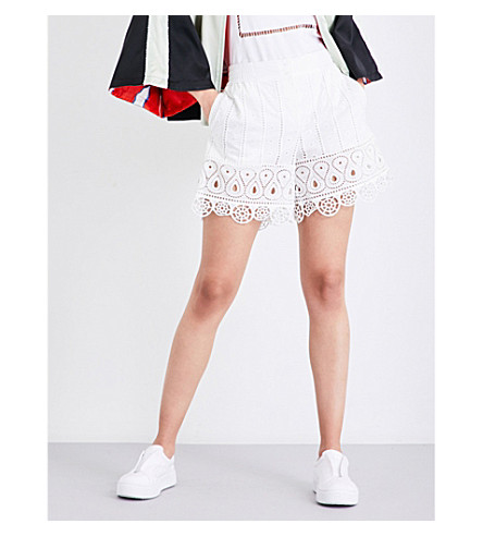 OPENING CEREMONY Broderie anglaise mid-rise cotton shorts (White