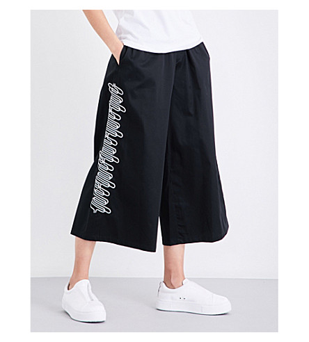 OPENING CEREMONY Embroidered wide mid-rise stretch-cotton trousers (Black