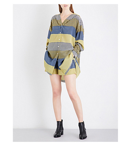 OPENING CEREMONY Contrast-panel hooded silk-twill shirt dress (Racer+yellow+multi