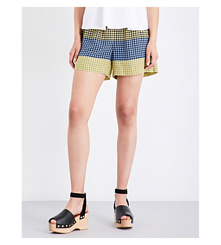 OPENING CEREMONY Geometric-printed high-rise foulard shorts (Racer+yellow+multi