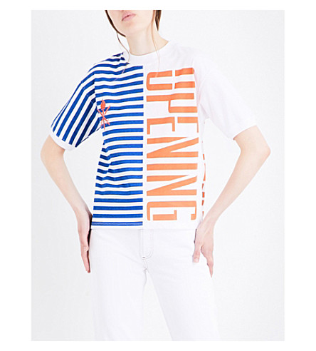 OPENING CEREMONY Half-striped logo-printed cotton-jersey T-shirt (White+multi