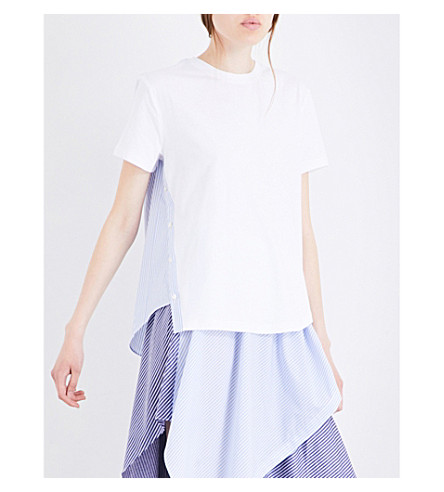 OPENING CEREMONY Striped-panelled cotton-jersey T-shirt (Pale+blue+multi