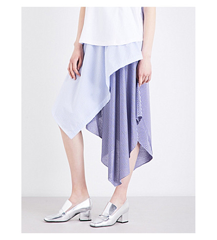 OPENING CEREMONY Handkerchief-panelled high-rise cotton-blend skirt (Pale+blue+multi